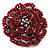 Spectacular Hot Red Dimensional Rose Brooch (Antique Silver Tone) - view 11