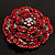 Spectacular Hot Red Dimensional Rose Brooch (Antique Silver Tone) - view 6