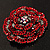 Spectacular Hot Red Dimensional Rose Brooch (Antique Silver Tone) - view 12
