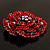 Spectacular Hot Red Dimensional Rose Brooch (Antique Silver Tone) - view 5