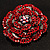 Spectacular Hot Red Dimensional Rose Brooch (Antique Silver Tone) - view 2
