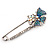 Rhodium Plated Blue Butterfly Safety Pin Brooch