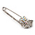 Rhodium Plated Clear Butterfly Safety Pin Brooch - view 7