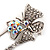 Rhodium Plated Clear Butterfly Safety Pin Brooch - view 3