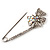 Rhodium Plated Clear Butterfly Safety Pin Brooch - view 8