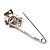 Rhodium Plated Clear Butterfly Safety Pin Brooch - view 5