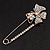 Rhodium Plated Clear Butterfly Safety Pin Brooch - view 1
