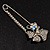Rhodium Plated Clear Butterfly Safety Pin Brooch - view 4