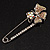 Rhodium Plated Citrine Butterfly Safety Pin Brooch