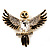 Black Enamel Crystal Owl Brooch (Gold Tone Metal) - view 1