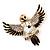 Black Enamel Crystal Owl Brooch (Gold Tone Metal) - view 4