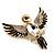 Black Enamel Crystal Owl Brooch (Gold Tone Metal) - view 6