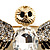 Black Enamel Crystal Owl Brooch (Gold Tone Metal) - view 3