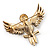 Black Enamel Crystal Owl Brooch (Gold Tone Metal) - view 5