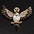 Black Enamel Crystal Owl Brooch (Gold Tone Metal) - view 2