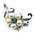 Silver Tone White Simulated Pearl Azure Diamante Floral Brooch - view 3