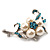 Silver Tone White Simulated Pearl Azure Diamante Floral Brooch - view 8
