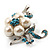 Silver Tone White Simulated Pearl Azure Diamante Floral Brooch - view 9