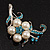Silver Tone White Simulated Pearl Azure Diamante Floral Brooch - view 6