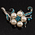 Silver Tone White Simulated Pearl Azure Diamante Floral Brooch - view 10