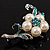 Silver Tone White Simulated Pearl Azure Diamante Floral Brooch - view 11