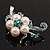 Silver Tone White Simulated Pearl Azure Diamante Floral Brooch - view 4