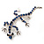 Small Blue Crystal Lizard Brooch (Silver Tone Metal) - view 1