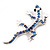 Small Blue Crystal Lizard Brooch (Silver Tone Metal) - view 3