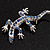 Small Blue Crystal Lizard Brooch (Silver Tone Metal) - view 7