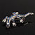 Small Blue Crystal Lizard Brooch (Silver Tone Metal) - view 8