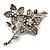 Clear Swarovski Crystal Flower Brooch (Silver Tone)