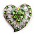 Silver Plated Apple Green Crystal Filigree Heart Brooch - view 8