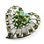 Silver Plated Apple Green Crystal Filigree Heart Brooch - view 7
