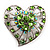 Silver Plated Apple Green Crystal Filigree Heart Brooch