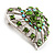 Silver Plated Apple Green Crystal Filigree Heart Brooch - view 2