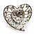Silver Plated Apple Green Crystal Filigree Heart Brooch - view 4