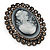 Oversized Oval Crystal Cameo Brooch (Gun Metal) - view 3
