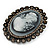 Oversized Oval Crystal Cameo Brooch (Gun Metal) - view 4