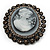 Oversized Oval Crystal Cameo Brooch (Gun Metal) - view 6