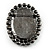 Oversized Oval Crystal Cameo Brooch (Gun Metal) - view 5