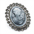 Oversized Oval Crystal Cameo Brooch (Gun Metal) - view 7