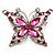 Fuchsia Diamante Butterfly Brooch (Silver Tone)