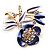 Violet Enamel Crystal Bunch Of Flowers Brooch (Gold Tone) - view 4
