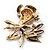 Violet Enamel Crystal Bunch Of Flowers Brooch (Gold Tone) - view 5