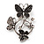 Diamante Butterfly Wreath Brooch (Burn Silver) - view 2