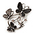 Diamante Butterfly Wreath Brooch (Burn Silver) - view 6