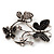 Diamante Butterfly Wreath Brooch (Burn Silver) - view 5