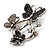 Diamante Butterfly Wreath Brooch (Burn Silver) - view 4