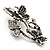 Diamante Butterfly Wreath Brooch (Burn Silver) - view 7