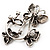 Diamante Butterfly Wreath Brooch (Burn Silver) - view 3
